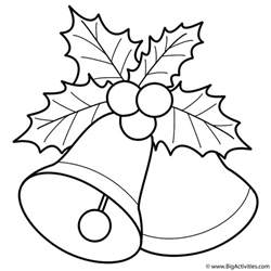 Mistletoe Coloring Page bells with mistletoe coloring page