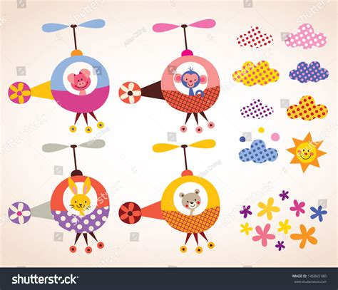 cute elements design vector set cute animals in helicopters kids design elements set stock