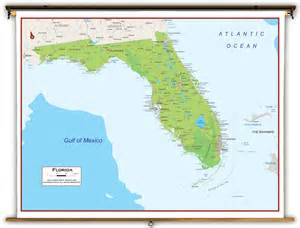 florida physical map florida state physical classroom map from academia maps