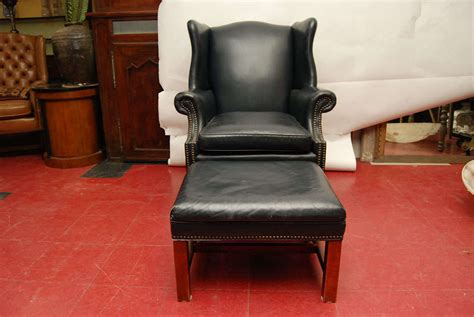 leather wingback chair and ottoman blue leather wingback chair and ottoman at 1stdibs