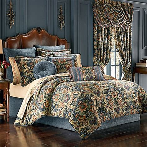 J Queen New York Cassandra Comforter Set In Blue Bed Blue And Gold Bedding Sets