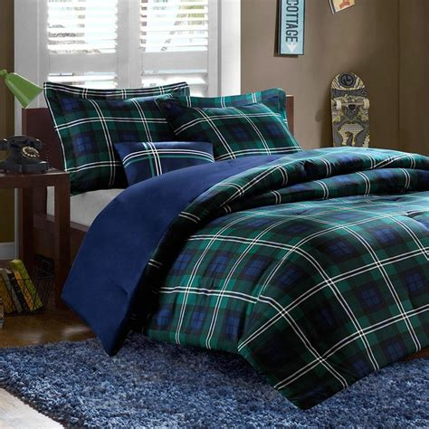 blue and green comforter set teen boys blue plaid twin xl full queen comforter set dorm