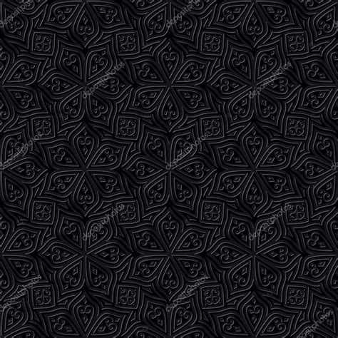 wallpaper batik black white batik seamless pattern black background stock vector