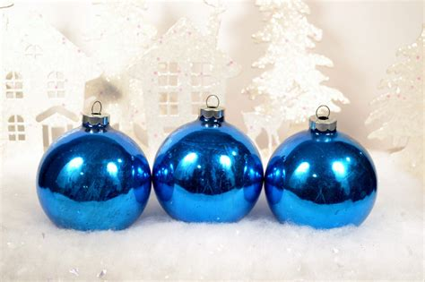 royal bright blue christmas ornaments by relicsandrhinestones