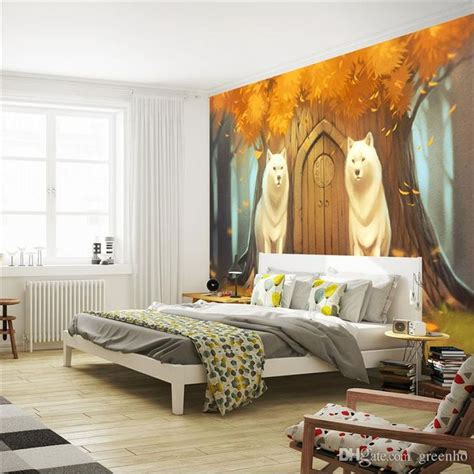 wolf bedroom decor cartoon wall mural customize photo wallpaper forest wolf anime wallpaper cute room
