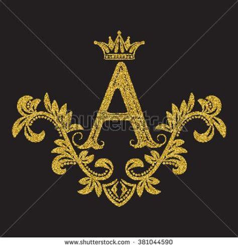 golden glittering letter a monogram in vintage style