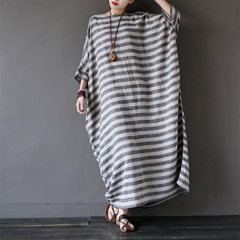 Big Stripe Casual Dress 26018 2016 summer new linen striped plus big size dress oversized casual maxi dress