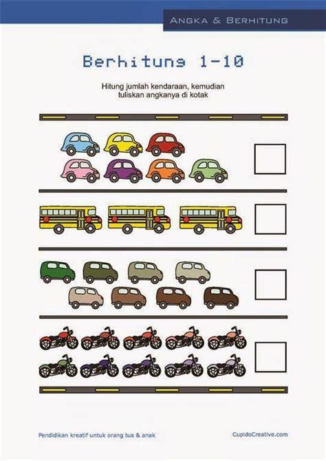 Buku Anak Belajar Matematika Ceria Untuk Paud Tk belajar hitung anak paud balita angka 1 10 gambar mobil sepeda motor edukids