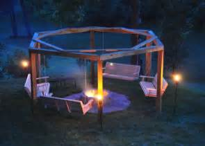 Swings Around Firepit Drives 6 Posts Into The Ground In His Backyard To Create A Cozy Porch Swing Pit