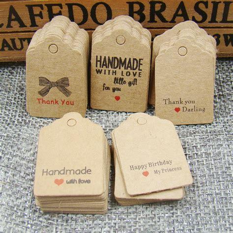 Handmade Tag Label Handmade 1000pcs Scallop Kraft Handmade With Tag Paper Thank