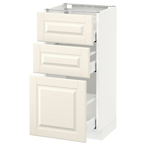 ikea off white kitchen cabinets metod maximera base cabinet with 3 drawers white bodbyn