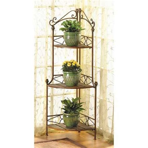 baker rack and plant stand rustic corner kitchen home decor 12517