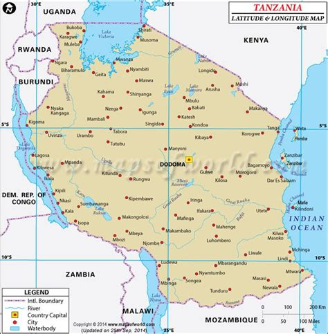 africa map with latitude and longitude 17 best images about gis project on tanzania