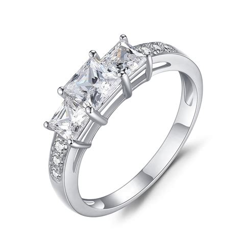 princess cut gemstone 925 sterling silver engagement ring