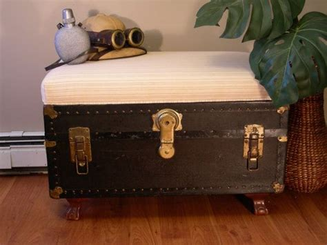 trunk bench seat vintage trunk with upholstered bench seat vintage trunks and coffee table ottoman