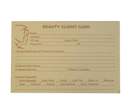 client record cards template client record card 100pk salonquip