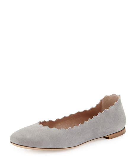 Sepatu Flat R 25 Suede scalloped suede ballerina flat cloud gray