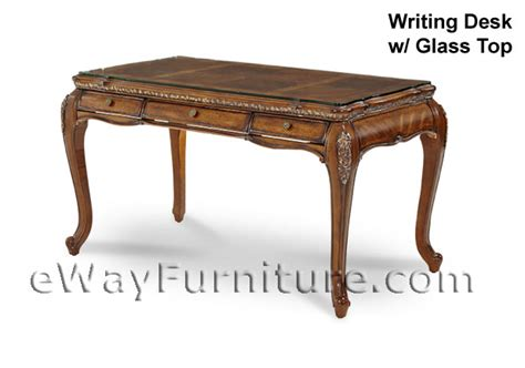 lavelle melange writing desk with glass top
