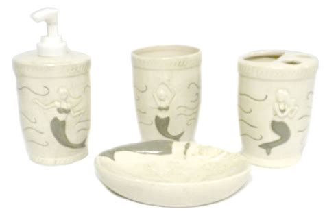 ceramic mermaid 4pc bathroom set tumbler soap dish