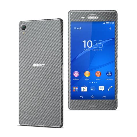 Skin Handphone Carbon Texture For Sony Xperia Zl sony xperia z3 metallic grey carbon fibre skin wrap decal easyskinz