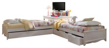Best Upholstered Beds lea haley 2 twin platform beds with corner unit in white
