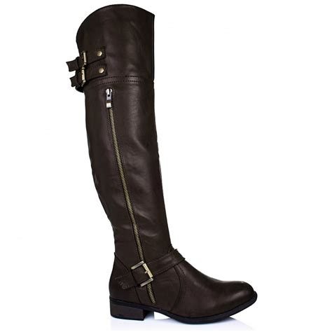 above knee boots buy castella flat buckle zip knee boots brown