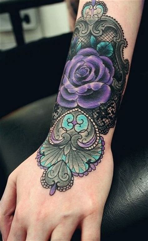 dark blue rose tattoo purple with patterns