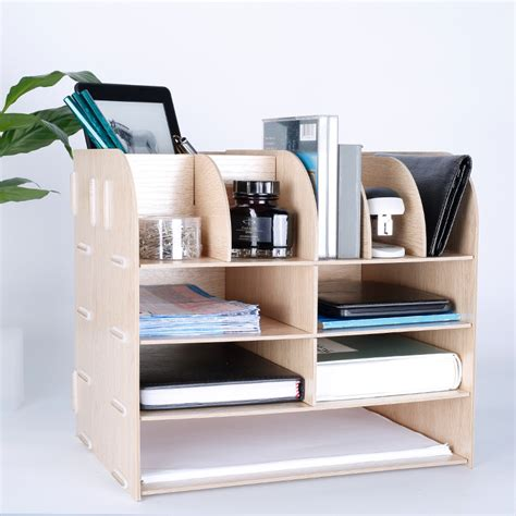 Creative Multi Functional Desk Organizer Natural Wood Colorful Desk Organizers