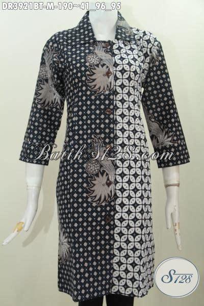 Dress Charlote Hitam Bahan Twistcone Kombi Katun Batik Asli Sleti baju dress klasik dua motif warna hitam putih busana batik formal kombinasi tulis kerah lancip