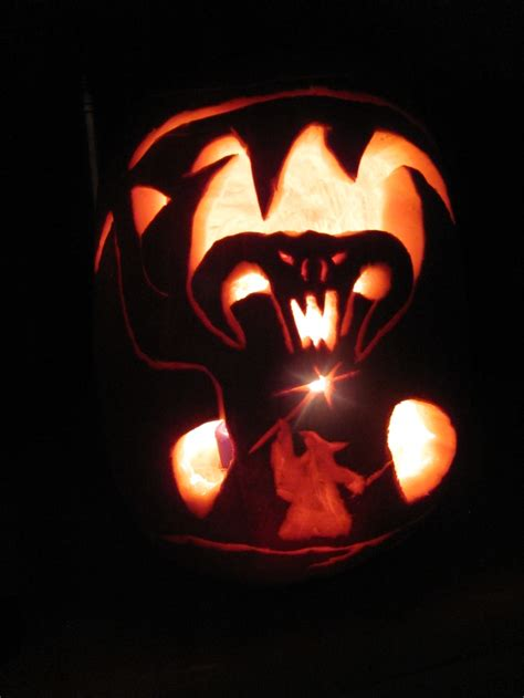 adelas quot gandalf vs balrog quot turbine pumpkin carving