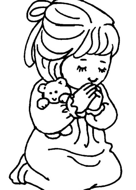 Little Girl Praying Coloring Page   free coloring pages of girl praying