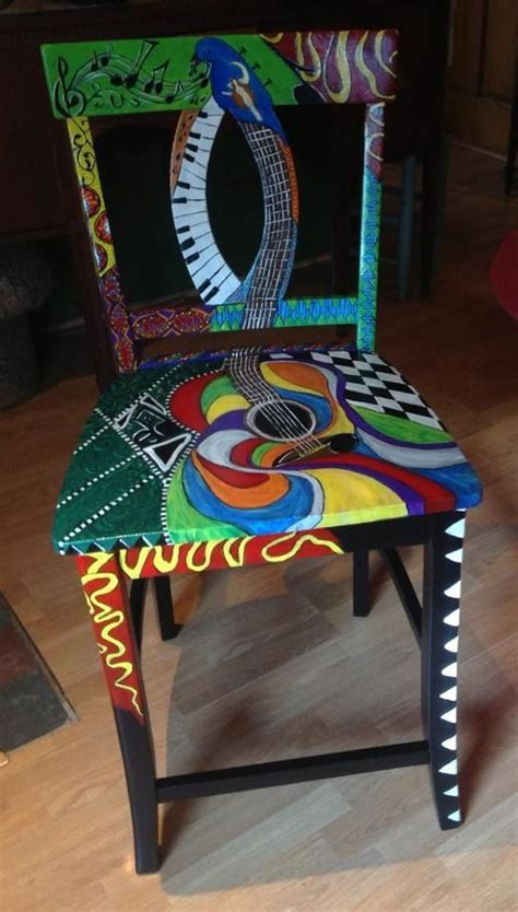 music themed furniture paint chair with guitar and music theme painted
