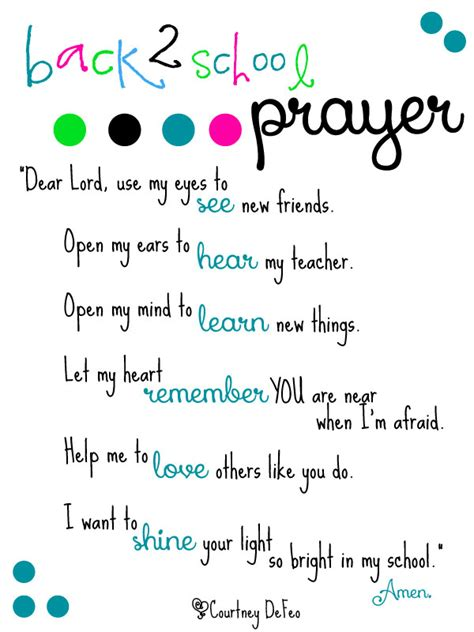 Closing Letter With Blessings Back 2 School Prayer Free Printable Back To School Prayer From Lil Light O Mine School