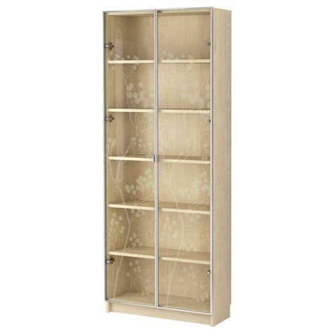 billy bookcase with glass doors thinking i m leaning towards this birch veneer vs the