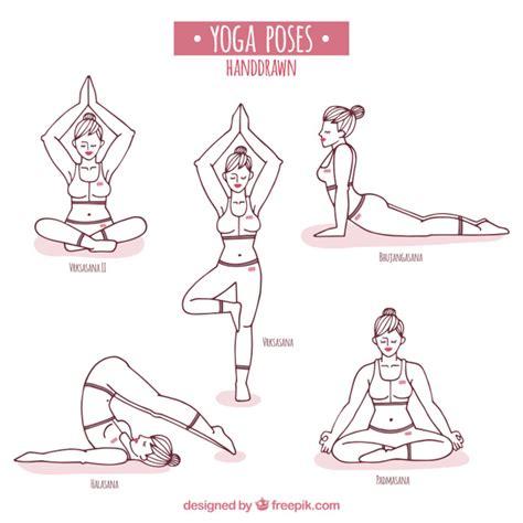 imagenes de posturas de yoga gratis posturas de yoga dibujadas a mano descargar vectores gratis