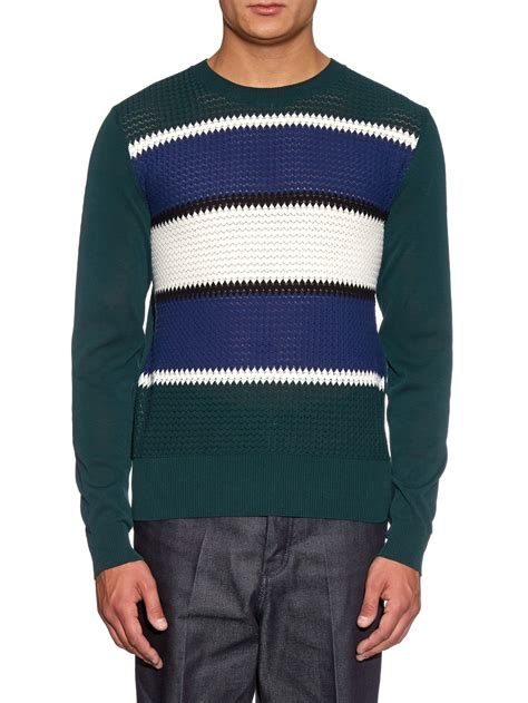 Lyst Loewe Striped Cotton Knit Sweater In Green For