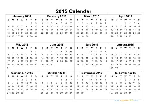 printable calendar 2015 strip 2015 calendar blank printable calendar template in pdf