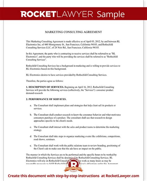 marketing consulting agreement free template with sle