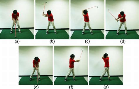 golf swing phases golf swing sequence with a seven iron a address b