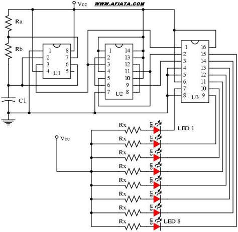 layout running led 20 led running led lights circuit electronic circuit diagram