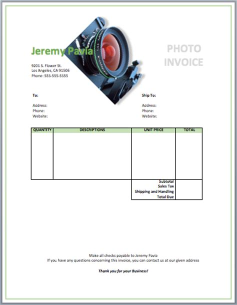 photographer templates photography invoice template free invoice templates