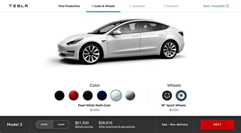 model 3 colors tesla model 3 design studio 49 000 for production 2 500