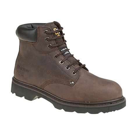 Kickers Boot Leather Safety Brown grafters mens sb src safety boots brown buy at