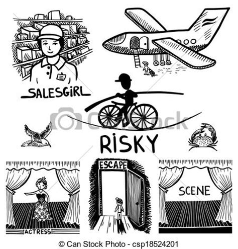 doodle escape free vector clipart of ink drawing of risky salesgirl