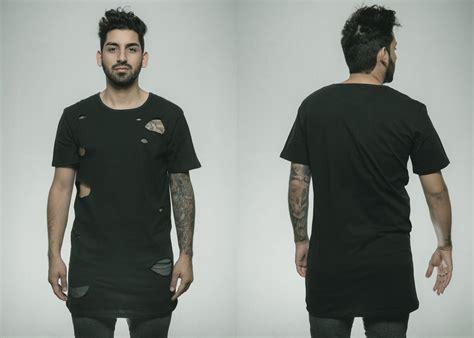 Fashion Ripped T Shirt destroyed oversize t shirt black longshirt