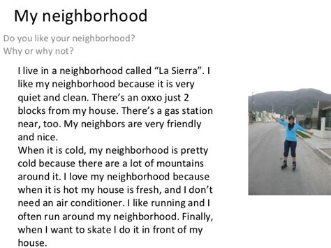 Describe Your Neighborhood Essay by Writing 3 My Neighborhood