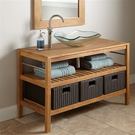bathroom console vanity 48 quot jolon teak console vessel sink vanity bathroom vanities bathroom