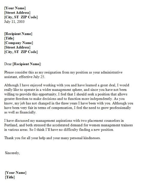 Resignation Letter Growth Resignation Letter Due To Lack Of Growth Opportunity Template Sle