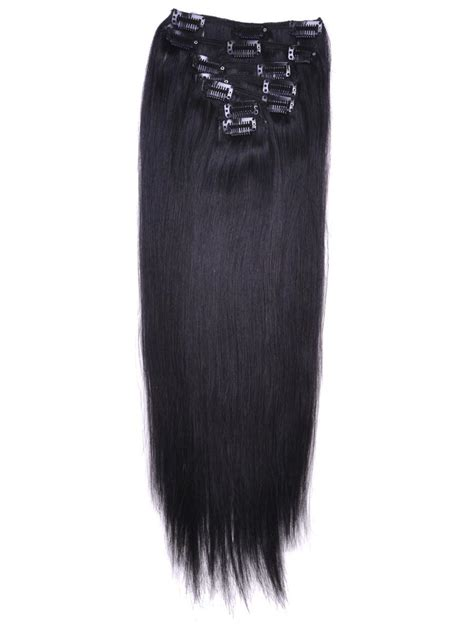 how to wear clipins black women 16 inch real straight clip in human hair extensions 1b
