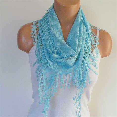 Rel Laci 60cm turquoise lace scarf with fringe new season scarf headband